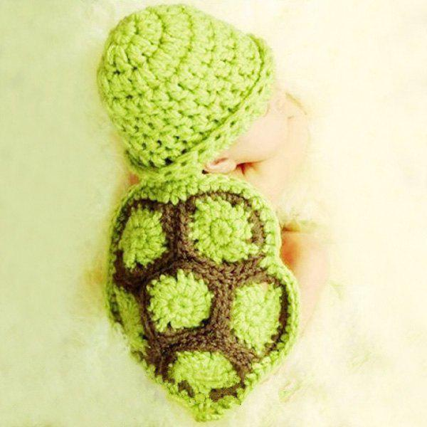 Фото High Quality Tortoise Style Handmade Crochet Knitting Beanie Hat Clothes Set For Baby
