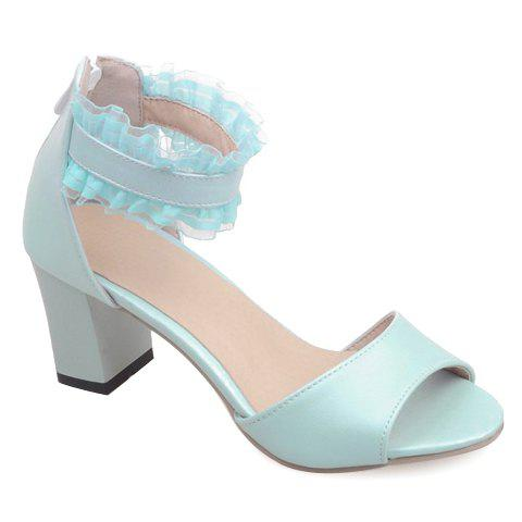 Fashionable Lace and Zipper Design Women's Sandals - LIGHT BLUE 36