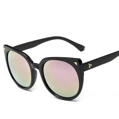 Chic Small Triangle Embellished Women's Black Cat Eye Sunglasses - PINK