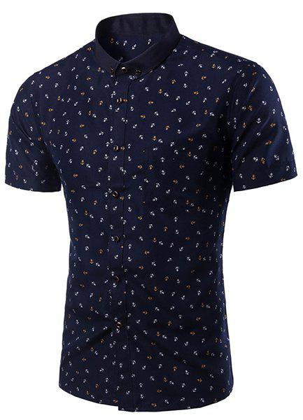 Slim Fit Printed Turn Down Collar Shirt For Men - CADETBLUE 4XL