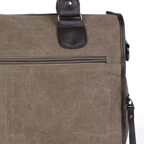 Stylish Splicing and Canvas Design Men's Briefcase - KHAKI