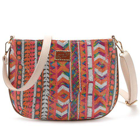 Ethnic Style Color Block and Sequins Design Women's Crossbody Bag