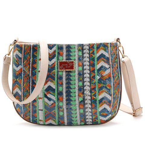 Ethnic Style Color Block and Sequins Design Women's Crossbody Bag - LIGHT GREEN