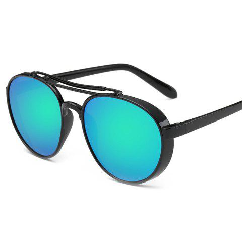 Chic Metal Full Frame Women Aviator's Black Sunglasses - GREEN
