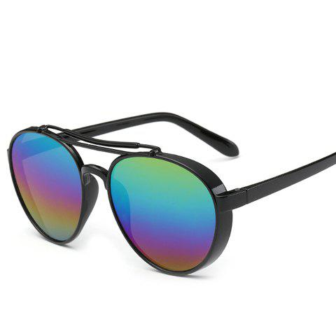 Chic Metal Frame Rainbow Color Lenses Women Aviator's Black Sunglasses - BLACK