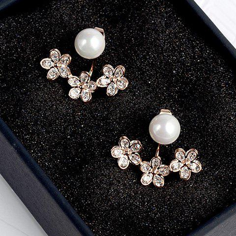 Pair of Floral Faux Pearl Cartilage Earrings - ROSE GOLD