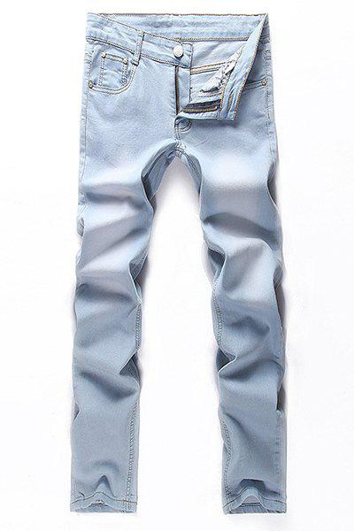 Fashion Zip Fly Straight Legs Denim Pants For Men - LIGHT BLUE 28