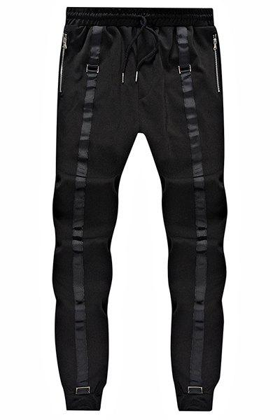 Loose Fit Lace Up Narrow Feet Sweatpants For Men - BLACK M