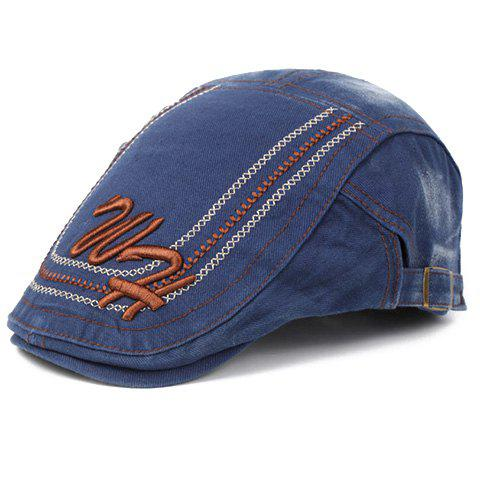 Elegant Letters Stitches Embroidery Cabbie Hat For Men - BLUE