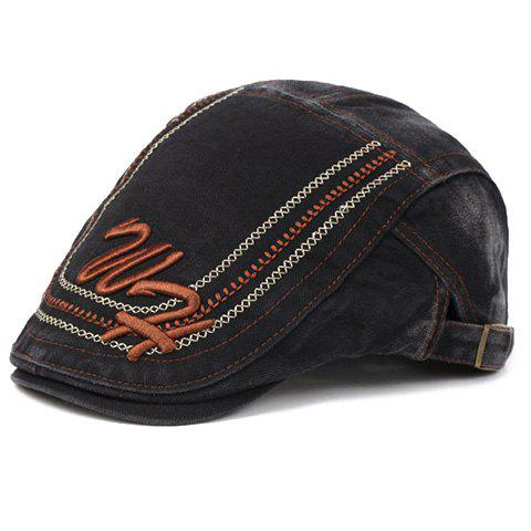 Elegant Letters Stitches Embroidery Cabbie Hat For Men - BLACK