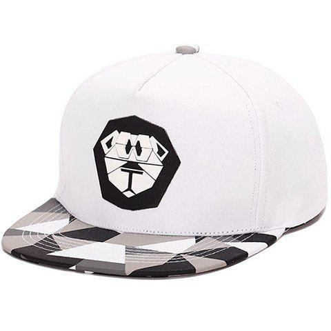 Elegant Cartoon Lion Print Plaid Pattern Baseball Hat For Men - WHITE