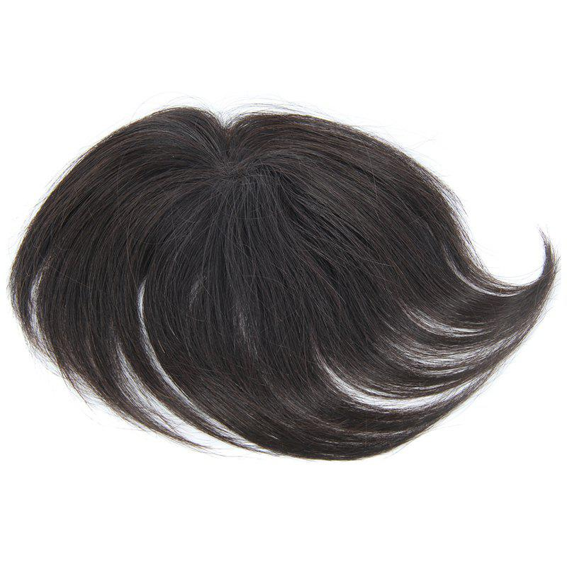 Brazilian Human Hair Vogue Clip-In Straight Natural Black Toupee -  BLACK