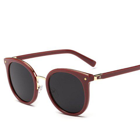 Chic Metal Nose Bridge Solid Color Women's Cat Eye Sunglasses - CLARET