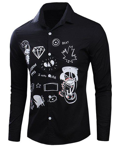 Scrawl Printed Turn-Down Collar Long Sleeve Men's Shirt weight sensor pressure point single point load cell micro load cell gravity sensor force measurement kg