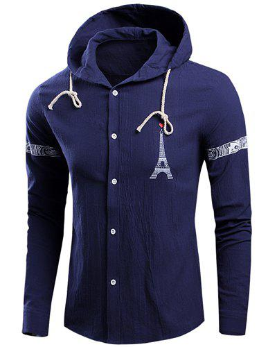 Tower and Letters Print Hooded Long Sleeve Buttons Men's Jacket - BLUE L