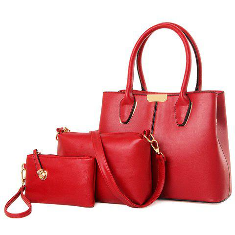 Fashion Solid Color and PU Leather Design Women's Tote Bag