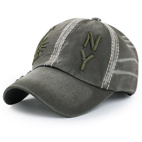 Elegant Statue of Liberty Letters Embroidery Baseball Hat For Men - ARMY GREEN