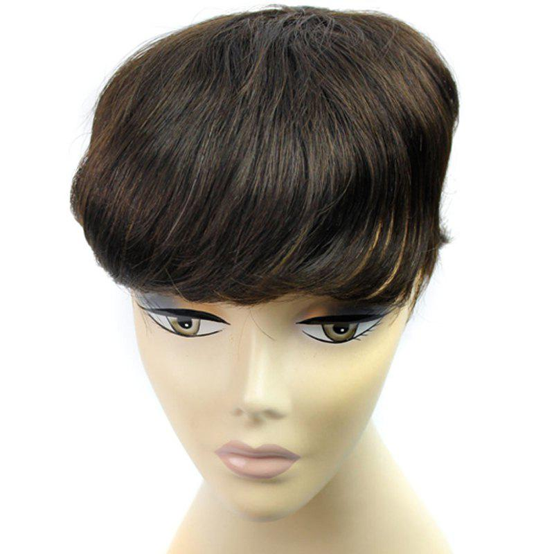 Stylish Clip-In Brazilian Human Hair Shaggy Natural Straight Toupee -