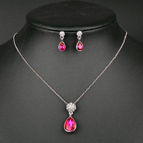 A Suit of Teardrop Faux Crystal Necklace and Earrings - ROSE