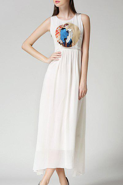 Sweet Round Neck Sleeveless Maxi Women's Chiffon Dress - WHITE L