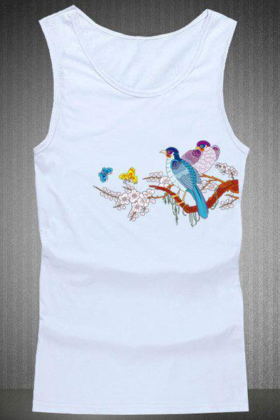 Loose Fit Birds Printing Round Collar Tank Top For Men - WHITE 2XL