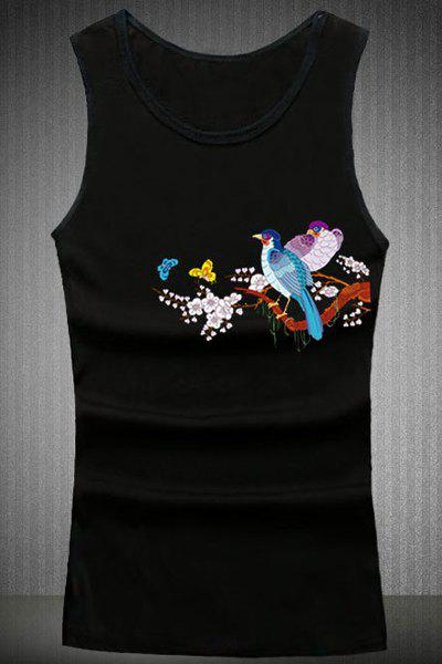 Loose Fit Birds Printing Round Collar Tank Top For Men