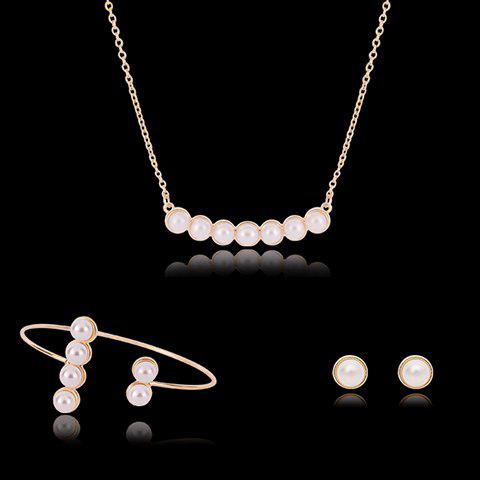Stylish Faux Pearls Decorated Jewelry Set (Necklace+Bracelet+Earrings) For Women