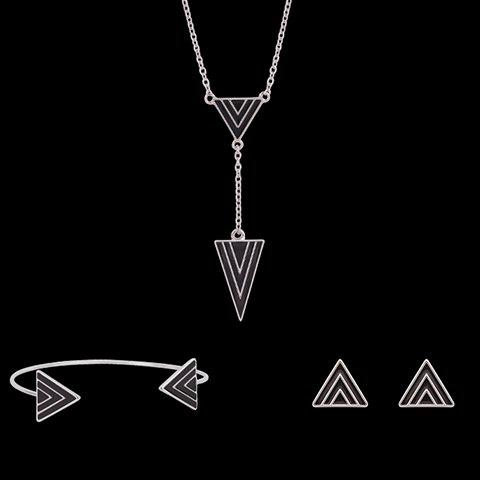 Triangle Shape Jewelry Set (Necklace Bracelet and Earrings) - BLACK