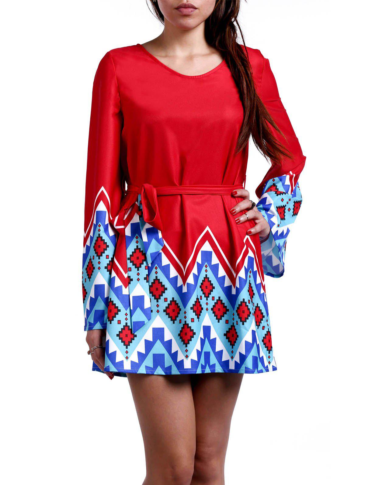 Stylish Scoop Neck Bell Sleeve Geometrical Print Dress For Women