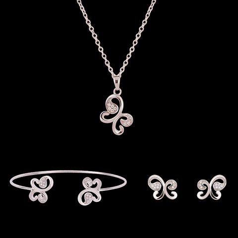 Butterfly Shape Rhinestoned Jewelry Set (Necklace Bracelet and Earrings) - SILVER