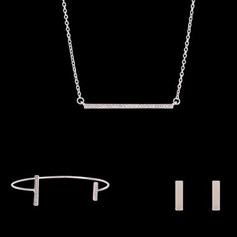 Rectangle Shape Rhinestoned Jewelry Set (Necklace Bracelet and Earrings)Jewelry<br><br><br>Color: SILVER
