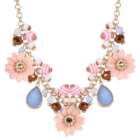 Rhinestone Water Drop Floral Necklace - GOLDEN