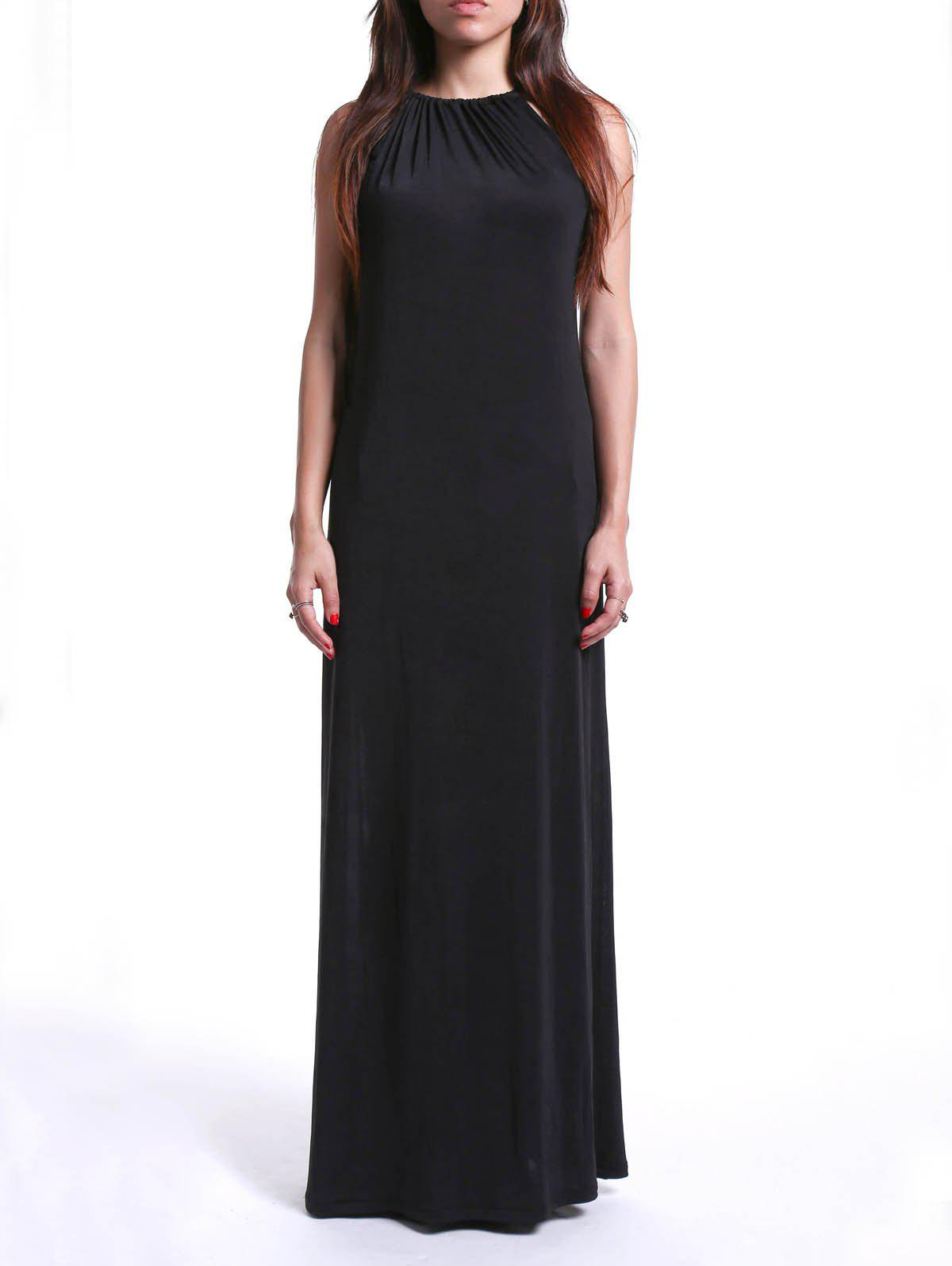Trendy Women's Strappy Loose-Fitting Black Maxi Dress trendy strappy black loose fitting maxi dress for women