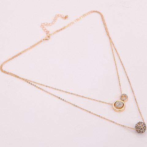 Rhinestone Multilayered Circle Necklace - GOLDEN