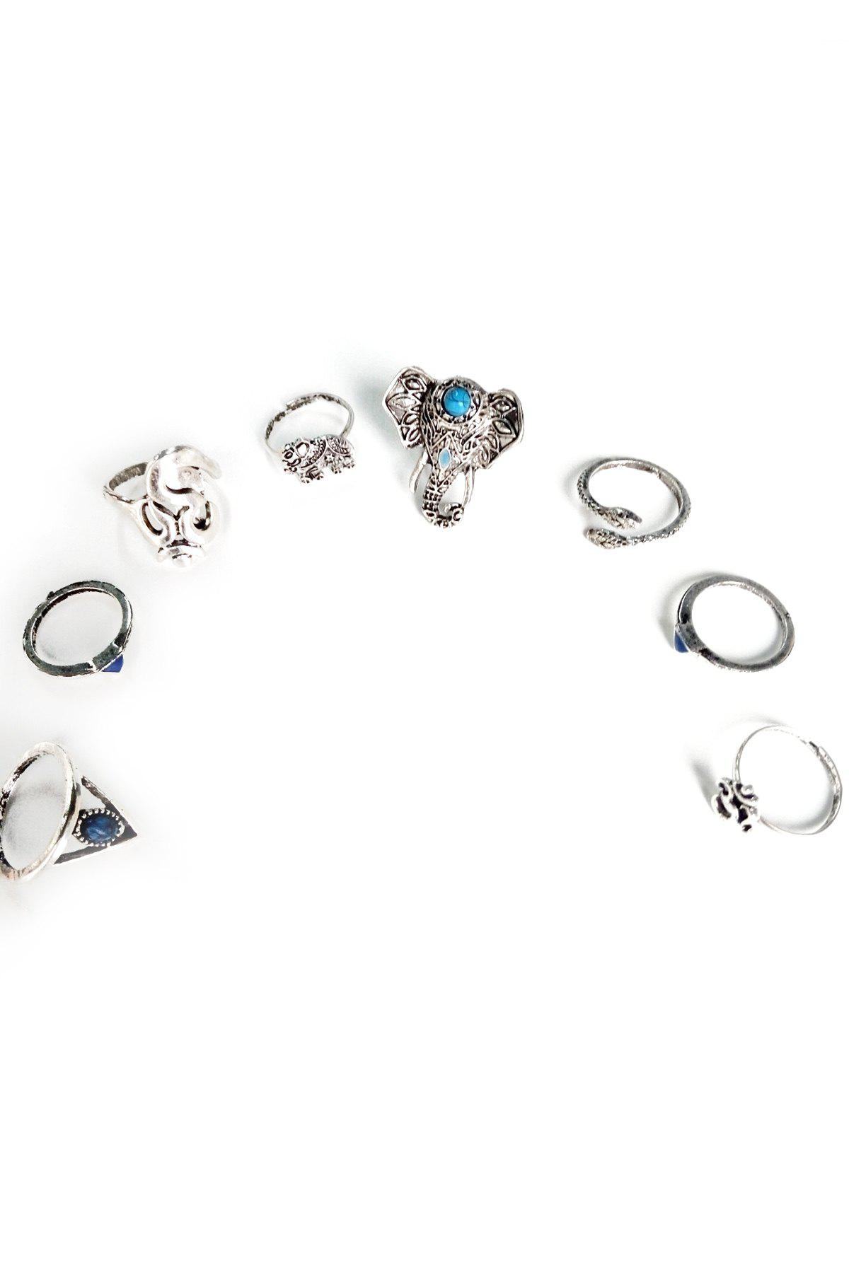 Chic Elephant Head Ethnic Style Rings For Women - SILVER