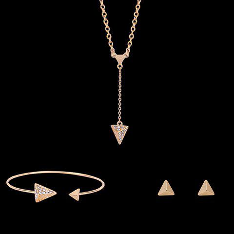 Triangular Pyramidal Shape Rhinestoned Jewelry Set (Necklace Bracelet and Earrings) - GOLDEN