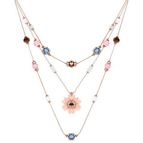 Floral Rhinestone Beads Layered Necklace - GOLDEN