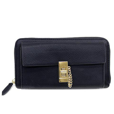 Fashion Hasp and Solid Color Design Women's Wallet - BLACK
