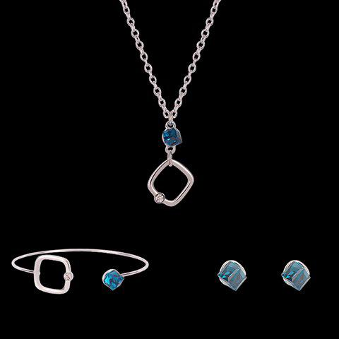 Cube Shape Faux Crystal Jewelry Set - SILVER