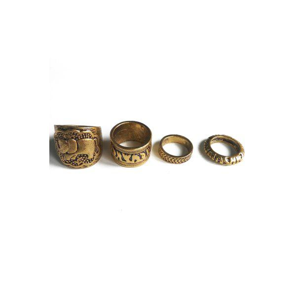Chic Elephant Head Cameo Ethnic Style Rings For Women - GOLDEN