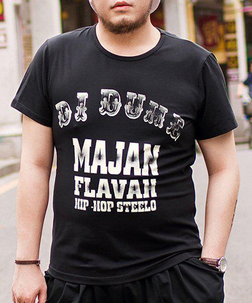 Loose Fit Letters Printed Pullover Round Collar Plus Size T-Shirt For Men - BLACK 6XL