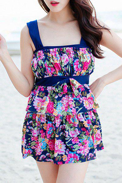 Refreshing Women's Floral Print Bowknot Two Piece Swimsuit - PURPLISH BLUE 2XL