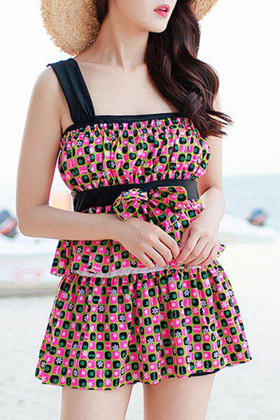 Refreshing Women's Square Print Bowknot Two Piece Swimsuit - COLORMIX 2XL