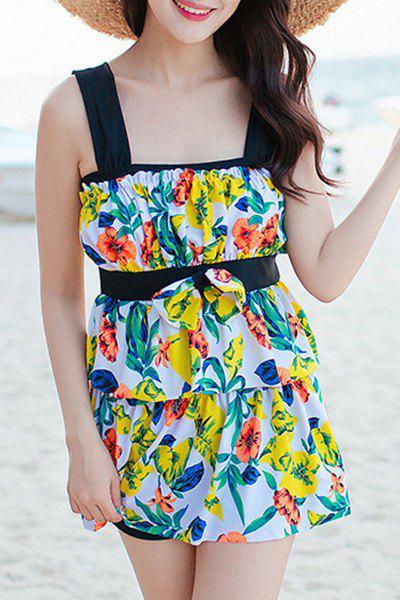 Refreshing Women's Leaves Print Bowknot Two Piece Swimsuit - YELLOW 2XL