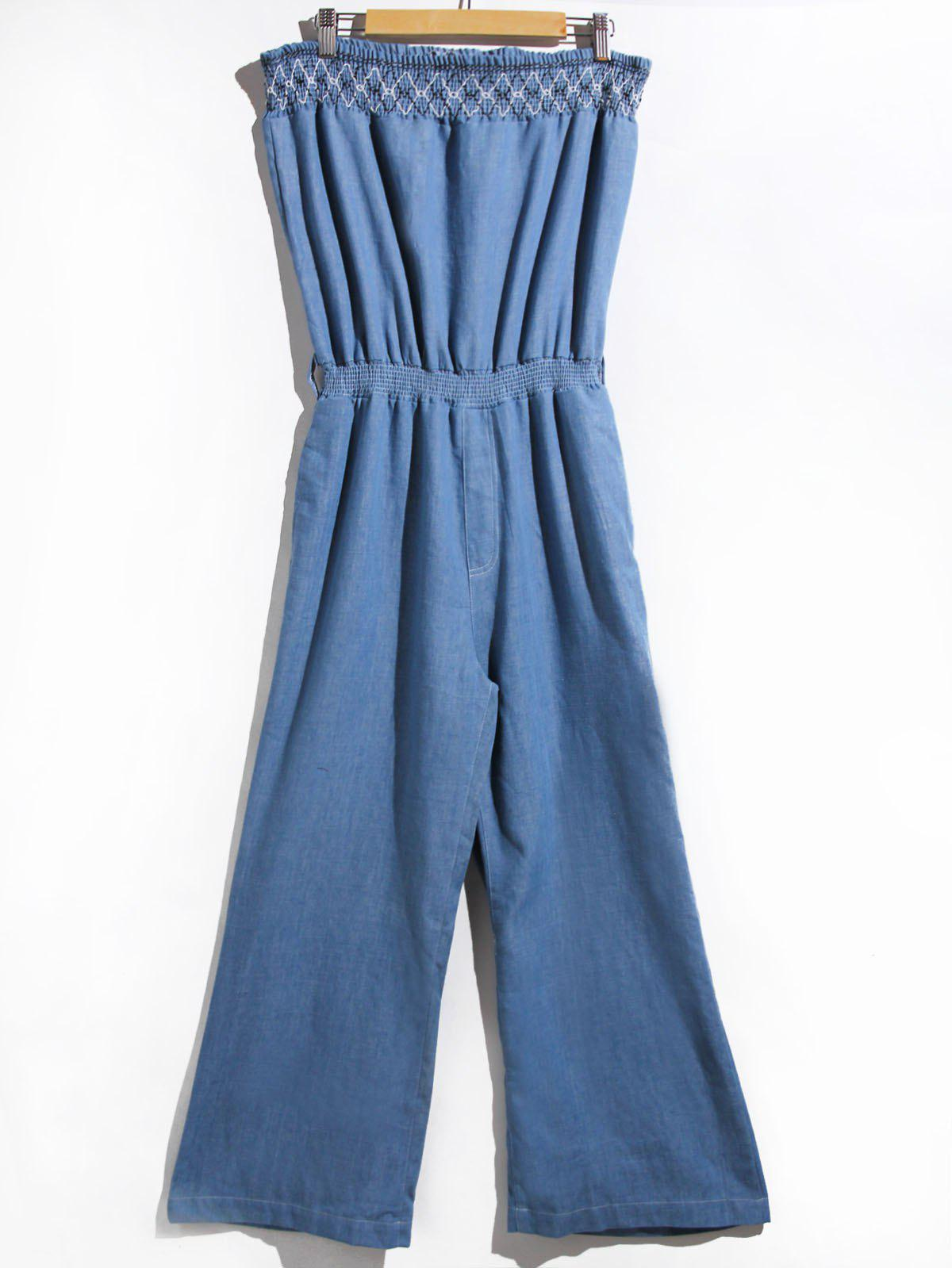 Trendy Strapless Denim Jumpsuit For Women - BLUE S