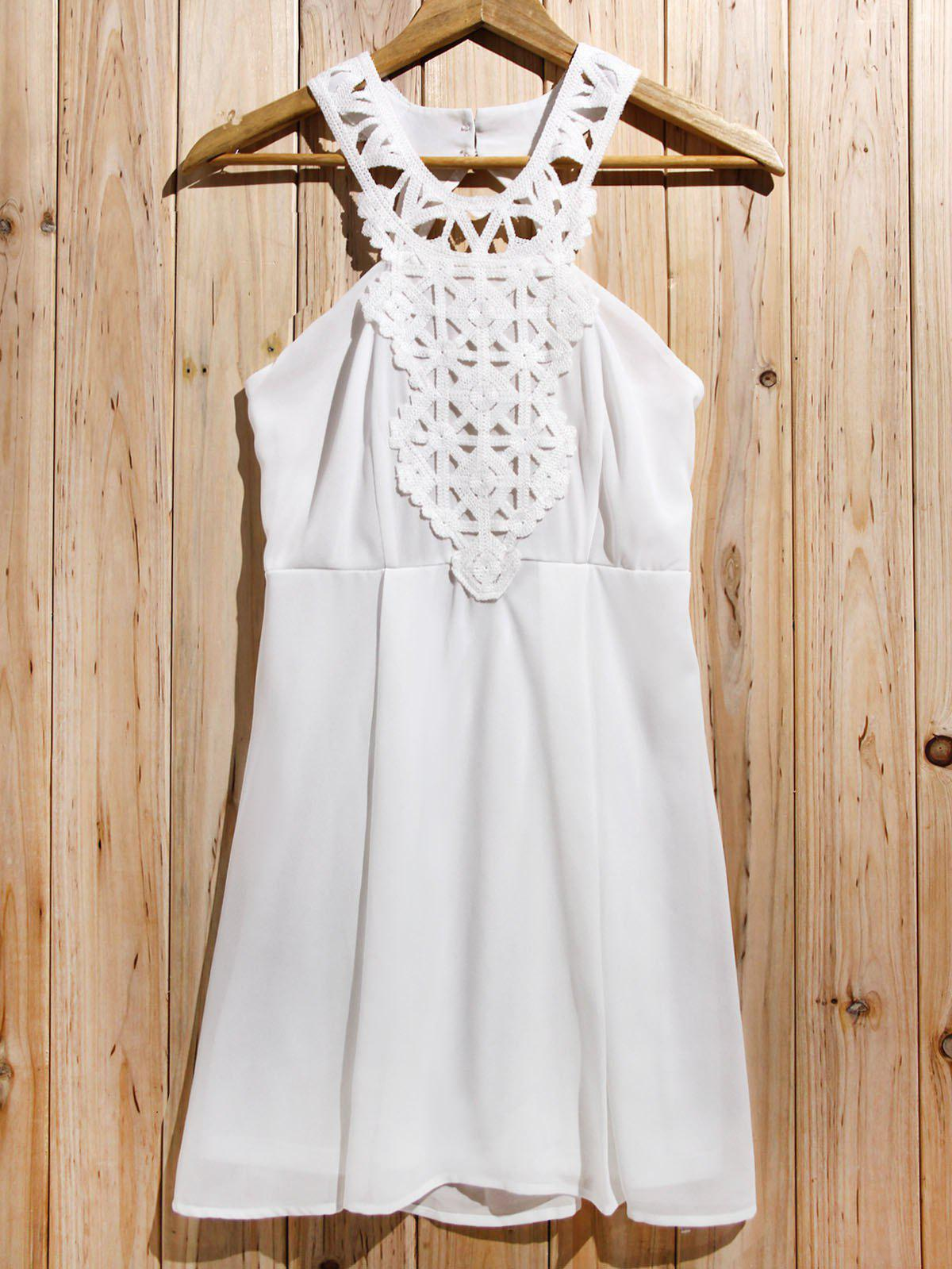 Trendy Backless Lace Splicing Sleeveless Cut Out Dress For Women - OFF WHITE S