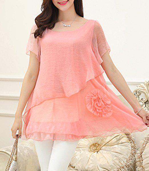 Slimming Bell Sleeves Scoop Neck Asymmetric Women's Blouse - LIGHT PINK XL