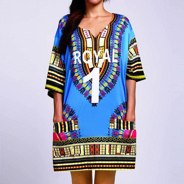 Ethnic Women's V-Neck Short Sleeve Tribal Print Slit Dress - BLUE ONE SIZE(FIT SIZE XS TO M)