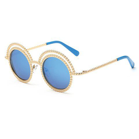 Chic Beaded Round Frame Hollow Out Women's Golden Sunglasses - ICE BLUE