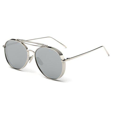 Chic Thick Rims Women Aviator's Silver Sunglasses